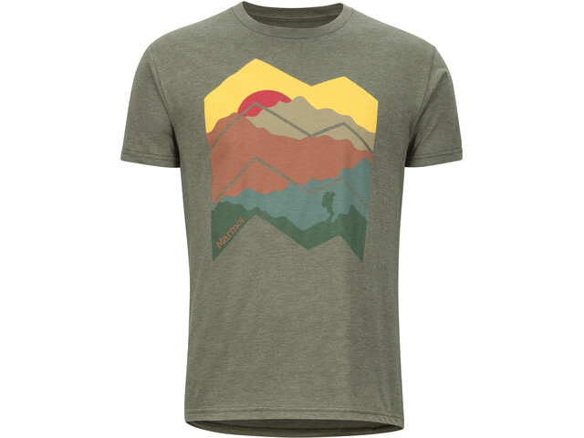 Marmot Zig Zag Mountains Kurzarm T-Shirt Herren olive heather